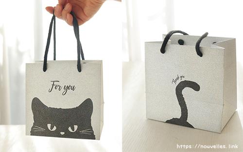 セリアで見つけたラメ猫手提げ袋