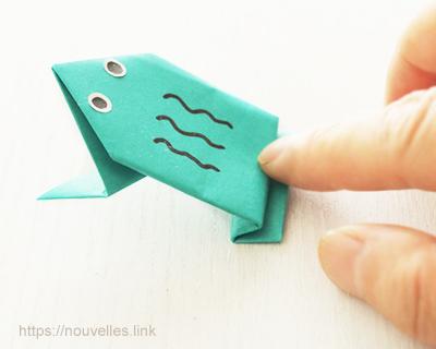 ダイソーの折り紙ブック⑥ おもちゃおりがみ ぴょんぴょんカエル