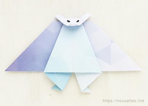 ダイソーの折り紙ブック③ いきものおりがみ コウモリ
