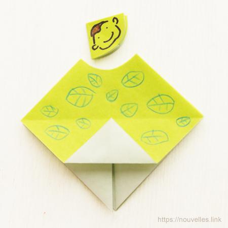 ダイソーの折り紙ブック⑥ おもちゃおりがみ 木登り猿