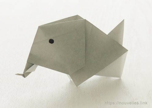 ダイソーの折り紙ブック③ いきものおりがみ 象