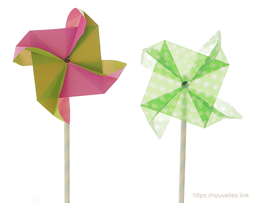 ダイソーの折り紙ブック⑥ おもちゃおりがみ 風車