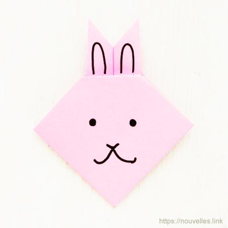 ダイソーの折り紙ブック① はじめてのおりがみ ウサギの顔