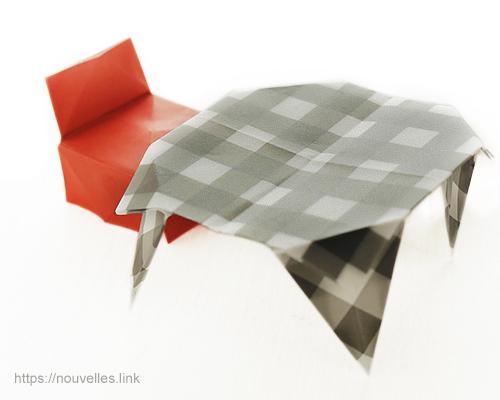 ダイソーの折り紙ブック⑥ おもちゃおりがみ テーブルと椅子