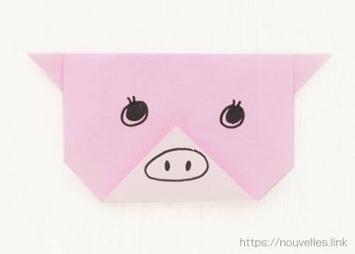 ダイソーの折り紙ブック① はじめてのおりがみ 豚の顔