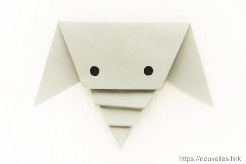 ダイソーの折り紙ブック① はじめてのおりがみ 象の顔