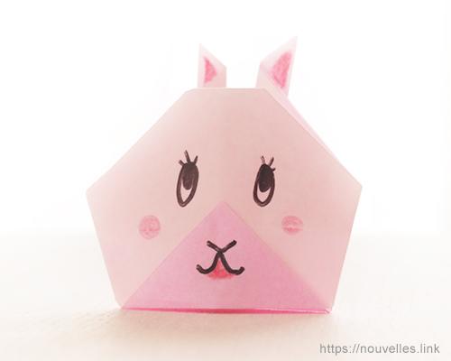 ダイソーの折り紙ブック② かんたんおりがみ 指人形 うさぎ