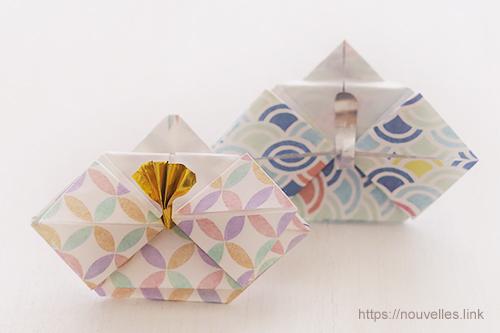 ダイソーの折り紙ブック5 きせつのおりがみ お雛さま(男雛・女雛)