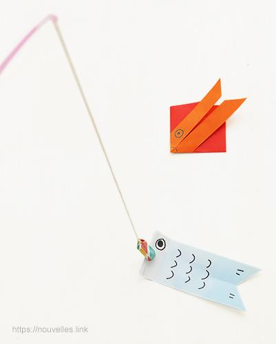 ダイソーの折り紙ブック⑥ おもちゃおりがみ 魚釣りの金魚と鯉