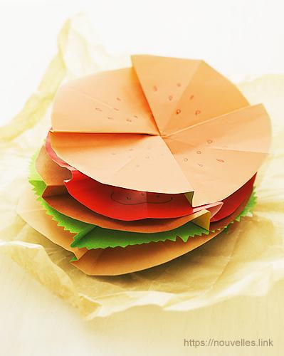 ダイソーの折り紙ブック④ たべものおりがみ ハンバーガー