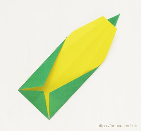 ダイソーの折り紙ブック④ たべものおりがみ トウモロコシ