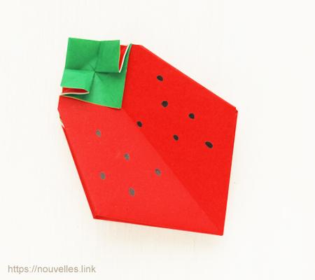 ダイソーの折り紙ブック④ たべものおりがみ 苺